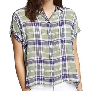 New Sanctuary Mod Plaid Short Sleeve Button Shirt